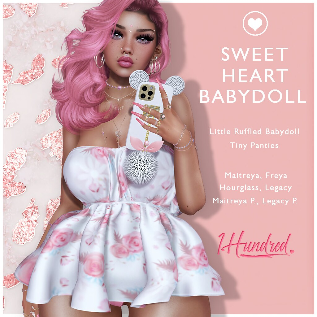 1 Hundred. Sweetheart Babydoll  NEW @ VANITY