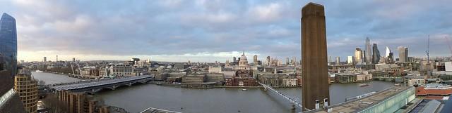 Panorama from viewing platform Tate Modern in London.