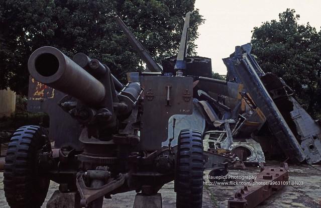 Dien Bien Phu, war museum, rusty French heavy arms