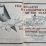 Sun, 2021-03-07 14:35 - 'From 1 January 1930'! A double page advert in the Odhams Press 'Advertising Display' trade magazine trumpeting that from the start of 1930 all commercial advertising, covering trains, vehicles, stations and sites, would  come under the direct control of the company. Now, given the Southern Railway, one of the 'Big Four' Grouping, had been formed in 1923 - why had they waited? The simple answer is that certain of their constituent companies had existing advertising agents and that to buy them out would have involved contractural payments, they'd simply it seems let them 'run out'. This was certainly also the case with the LNER and, in 1933, London Transport.  The advert does rather nicely show the operating territory of the Southern and its effective monopoly of much of the 'Sunny' South Coast as well as the various ports from which much cross-channel traffic was carried and, in the case of Southampton, their ownership of one of the world's great passenger ports. The Southern were investing heavily in facilities here along with electrification of much of the London based network and the advert lists the various city termini. In the West Country you see a more tenuous network, an area where the GWR had many competing lines.  The ad uses various typefaces and lettering including the Southern's own 'Sunshine' lettering for its title and that it rather standardised on for signs and title headings.