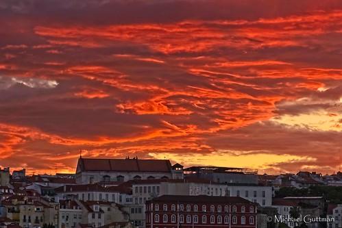 lisbon portugal sunset colorful dramatic clouds bluehour sliderssunday hss