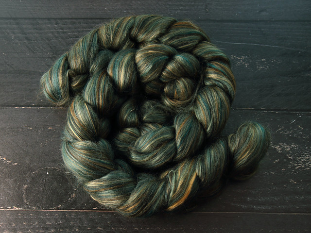 95g Indulgence Blend wool, baby Alpaca and Mulberry Silk blended top spinning fibre in 'Verdigris'