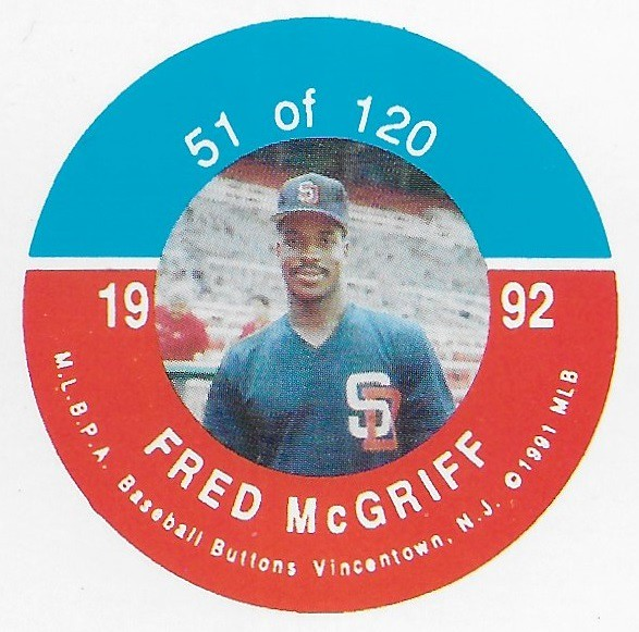 1992 JKA Vincentown Button Proof Square - McGriff, Fred