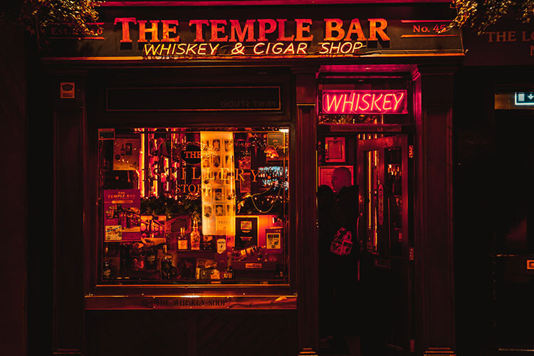 whisky in Dublin at the temple bar