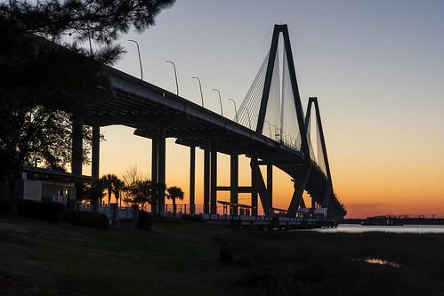 bridge river sunset dusk pier south carolina towers suspension