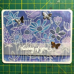 Still working on my #fauxgelliprints from yesterday. I watercolored the flowers here, using #distressoxides Chipped Sapphire, Wilted Violet, and Peacock Feathers. The Chipped Sapphire took on an oddly yellow-green shade! #simonsaysstamp #cardmaking #cardm
