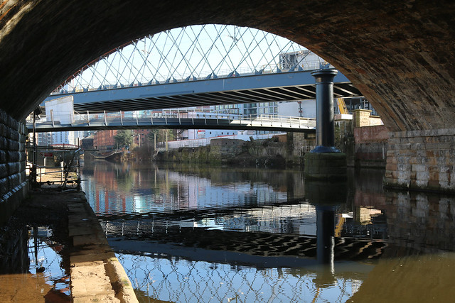 1st March 2021. Two Railway Bridges over the River Irwell at Ordsall, Salford, Greater Manchester