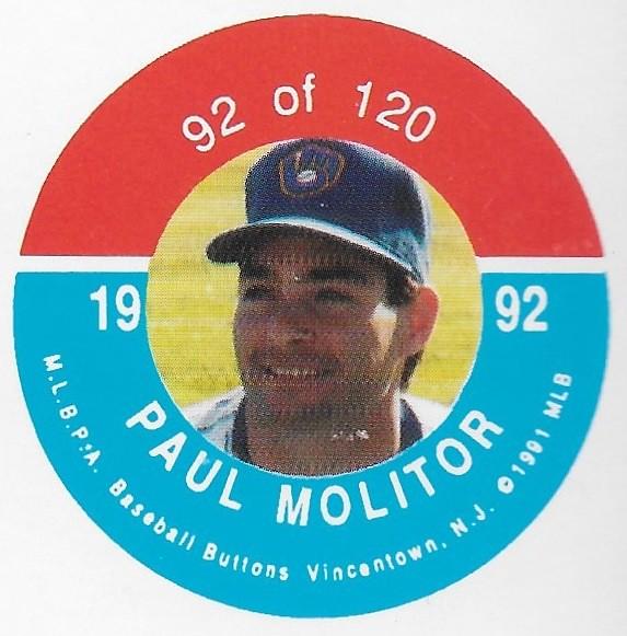 1992 JKA Vincentown Button Proof Square - Molitor, Paul