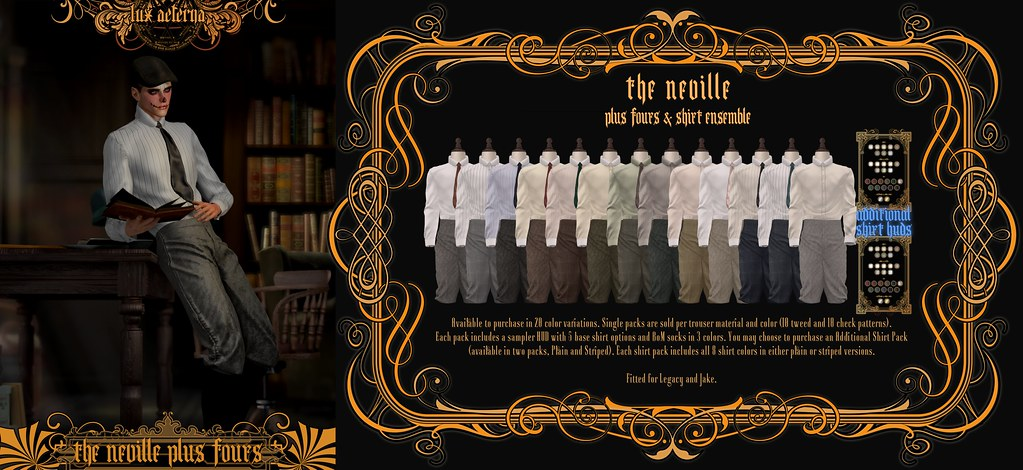 """LUX AETERNA """"The Neville Plus Fours"""" @ The Mens Department"""