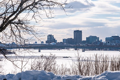 The city of Hull across the frozen Ottawa River.