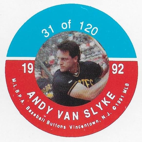 1992 JKA Vincentown Button Proof Square - Van Slyke, Andy