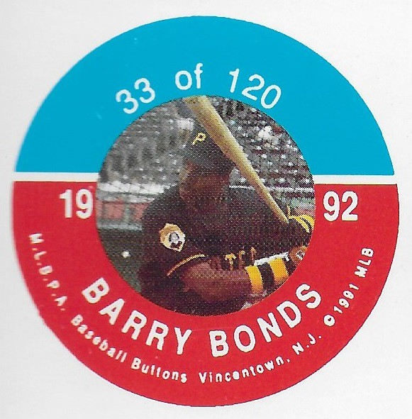 1992 JKA Vincentown Button Proof Square - Bonds, Barry