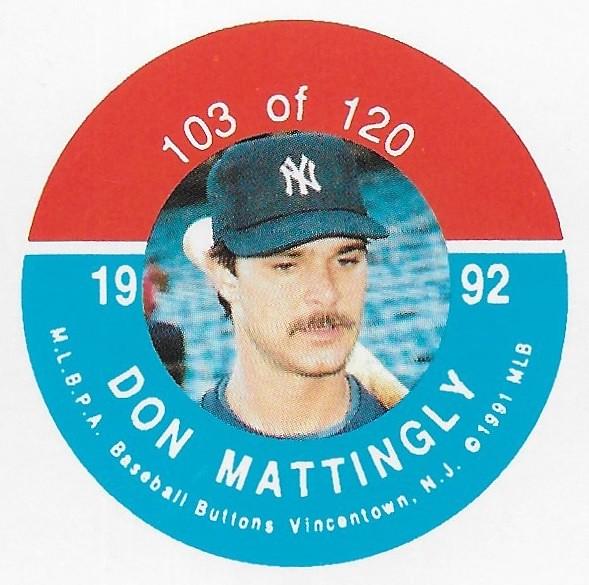 1992 JKA Vincentown Button Proof Square - Mattingly, Don