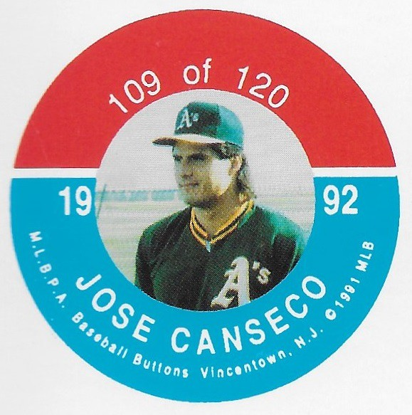 1992 JKA Vincentown Button Proof Square - Canseco, Jose