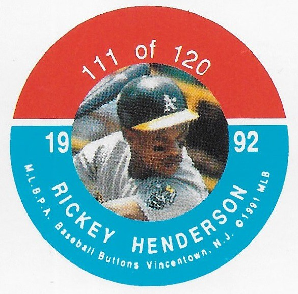 1992 JKA Vincentown Button Proof Square - Henderson, Rickey