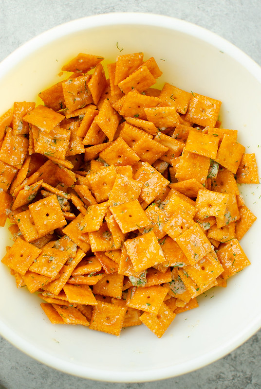 Ranch Cheez-Its in white mixing bowl