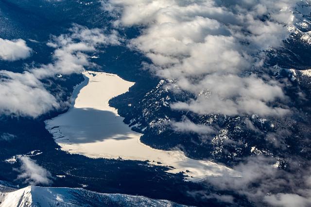 Frozen river in the Cascades