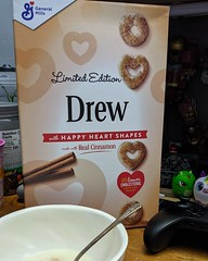 Hey there! It is #NationalCerealDay. I am actually missing being in the office tonight. We've done special cereal nights every year. Tonight we celebrated on Zoom. Just not the same. Thanks @GenMillsCereal for this personalized #Cheerios box, bowl and spo