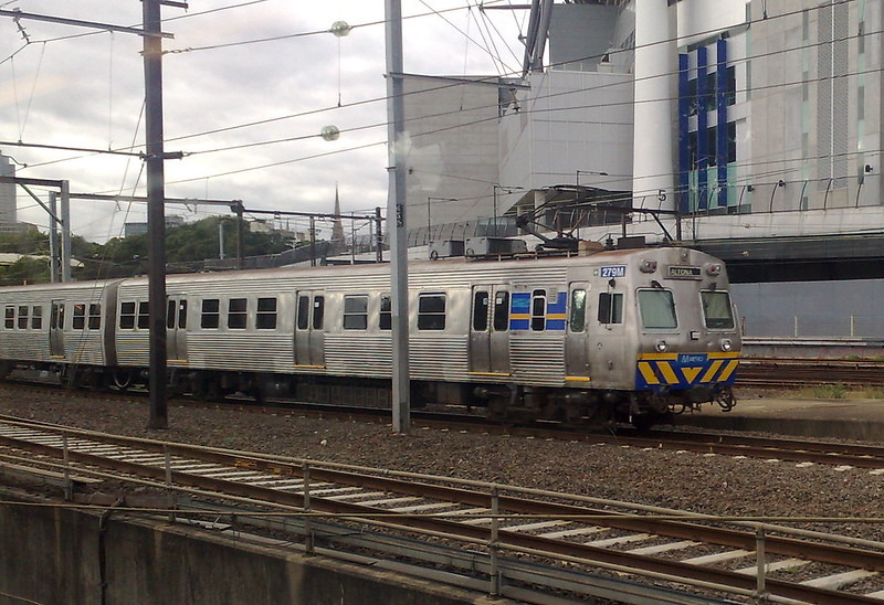 Hitachi train passing MCG, March 2011