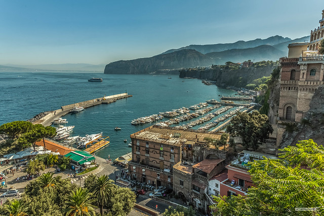 Sorrento, on the Bay of Naples and the Amalfi Peninsula, Italy, in high summer.