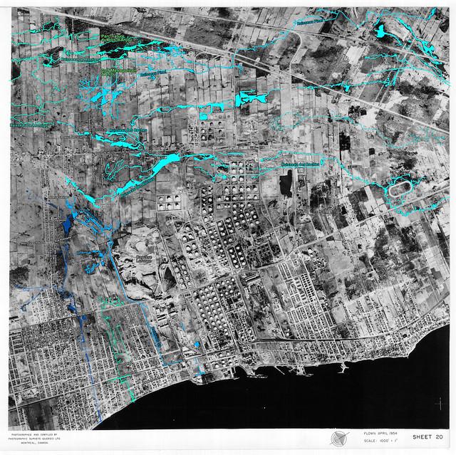Avril 1954 : les ruisseaux d'Anjou, Tétreaultville et Montréal-Est (indications très claires)