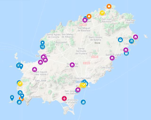 Mapa de la ruta en coche por Ibiza en 5 días