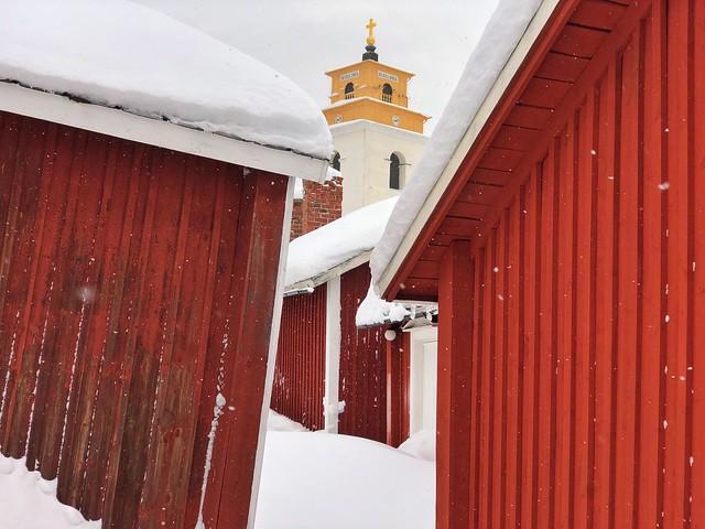 Gammelstad en invierno con nieve (Suecia)