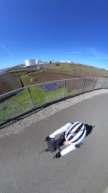 Road biking through the east bay bay trail shoreline