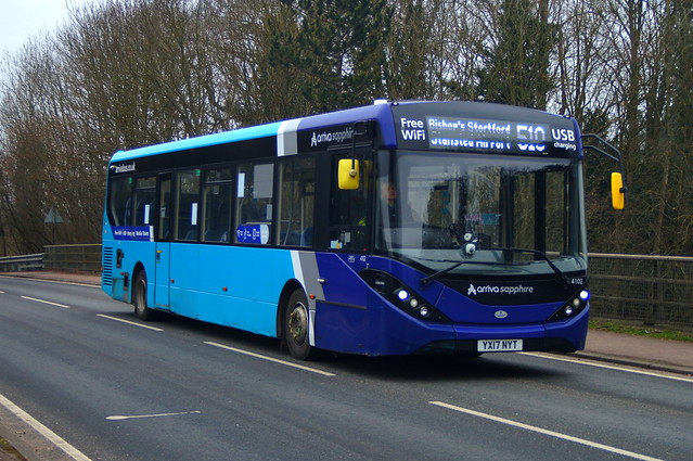Sapphire Blue: Arriva Harlow ADL Enviro200MMC YX17NYT (4102) Church Road Stansted Mountfitchet 08/03/21