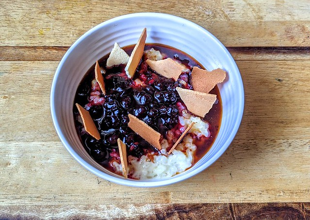 Raw Milk Rice Pudding, Foraged Bramble Compote, Velvety Whey Caramel and Crunchy Milk Tuile