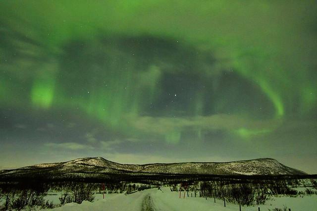 Aurora boreal en Nikkaluotka (Laponia Sueca)