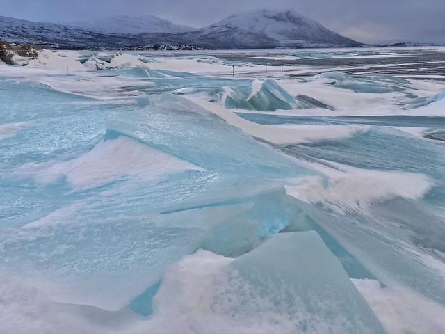 Paisaje helado en el Parque Nacional Stora Sjofallet (Laponia Sueca)