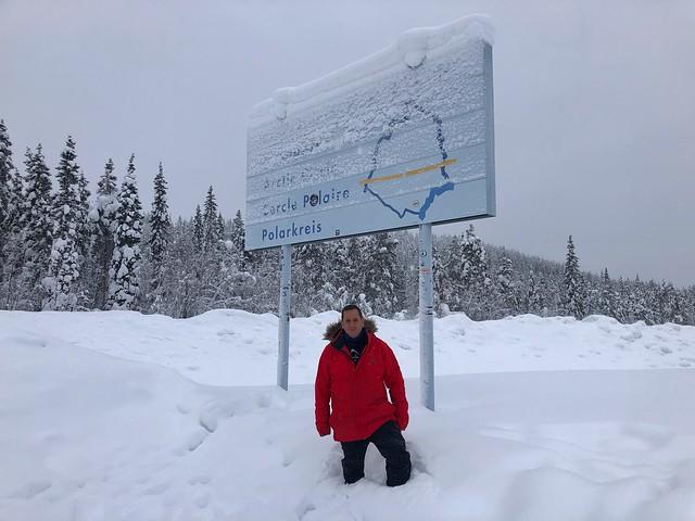 Sele en la línea del Círculo Polar Ártico en Suecia (Laponia Sueca)