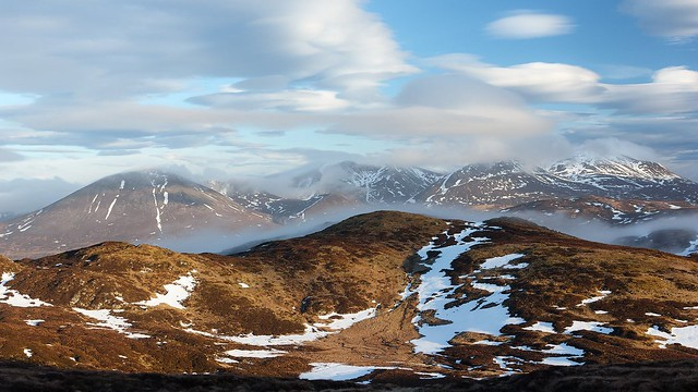 Beinn a' Ghlo and Meall Breac from Carn Geal