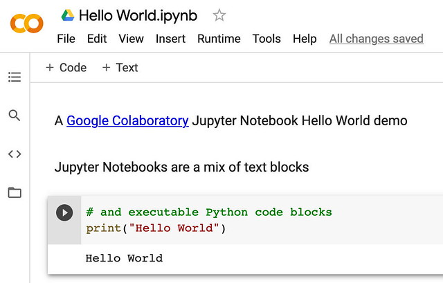 Google Colaboratory Hello World