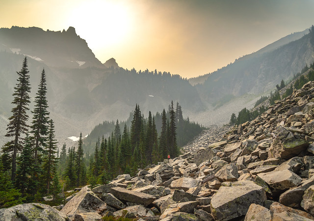 Catherine - Bench and Snow Lake Trail - Forest Fire Smoke Haze - Mt. Rainier National Park - Washington - September 2020
