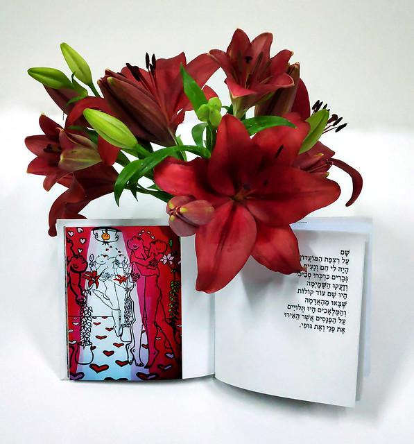 הספר זאת עיר עם רישום עכשווי של זוגות רוקדים סמדר שרת ספר שירים ספרי שירה ספרים שיר  אמנות ישראלית