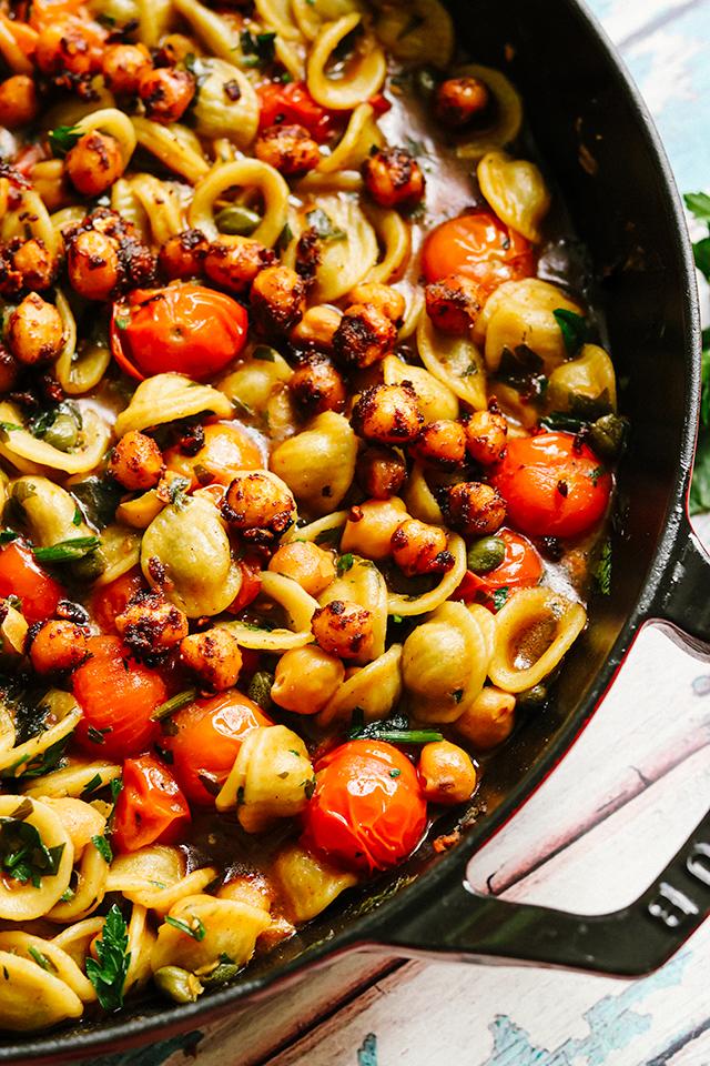 One Pot Orecchiette Puttanesca with Spiced Crispy Chickpeas
