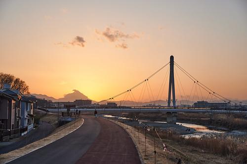 city bridge sunset river evening 橋 夕方 川 日暮れ 都会 japan landscape tokyo asakawa 東京 hino 風景 takahatafudo 高幡不動 浅川 日野市