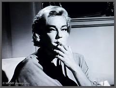 Lady smoking.