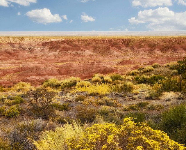 Brilliant red rock formations in the Painted Desert of Arizona