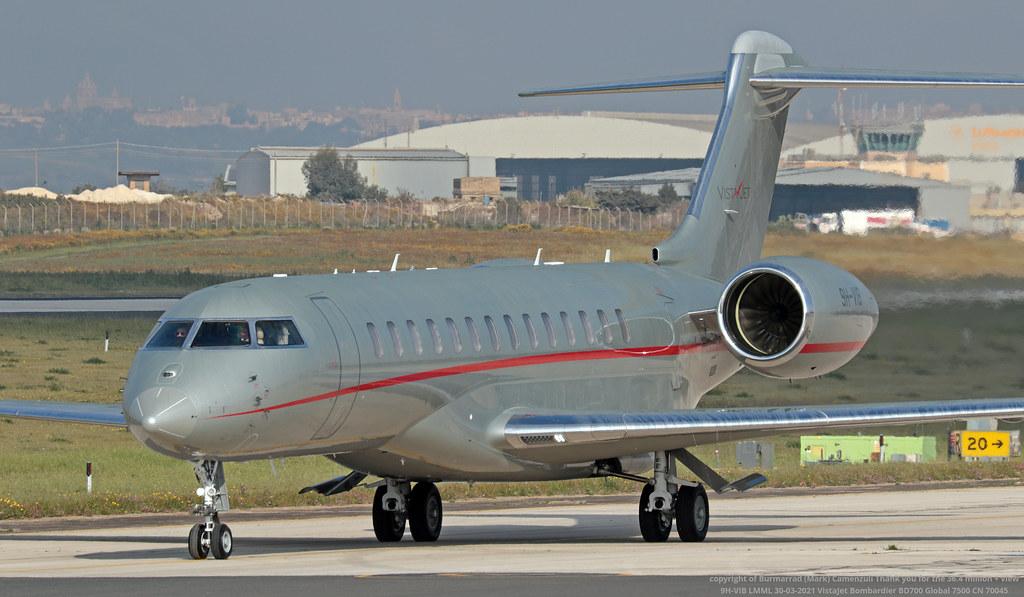9H-VIB LMML 30-03-2021 VistaJet Bombardier BD700 Global 7500 CN 70045
