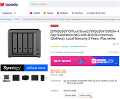 The successor of the DS918+ is the DS920+ and you can get it here (10% discount) with 8GB RAM (S$904) or 4 GB RAM (S$765).