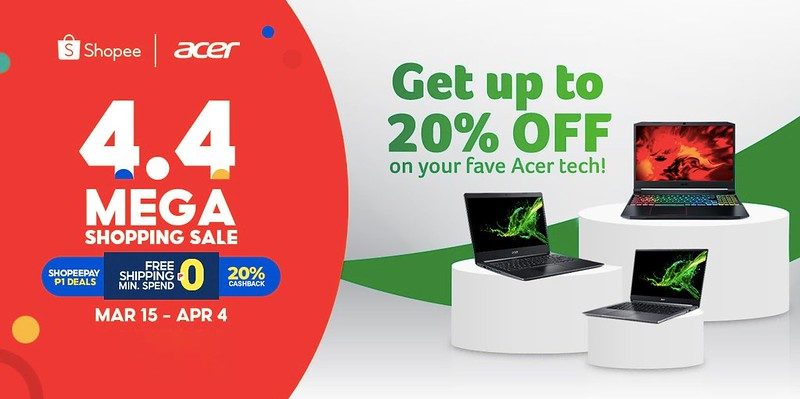Get Acer's most popular products at 20% off from Shopee 3.3 – 4.4 Mega Shopping Day