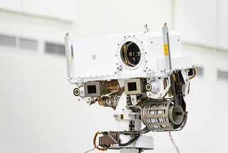 SuperCam sits on the top of the mast of NASA's Perseverance rover, which landed on the surface of Mars on Feb. 18, 2021