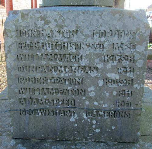 War Memorial, Coaltown of Balgonie, Names