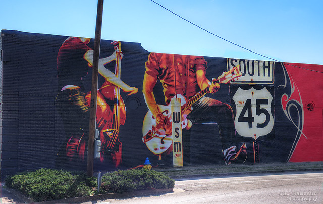 Highway 45 South (Rockabilly Highway) mural - Selmer, Tennessee