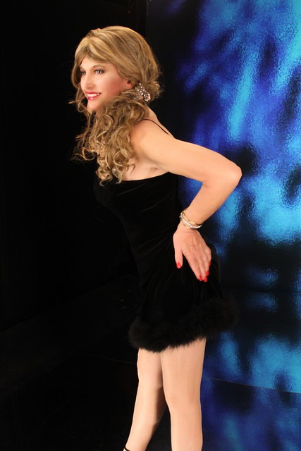 black dress with feathers