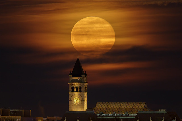 Full Moon / Snow Moon over the Old Post Office Tower