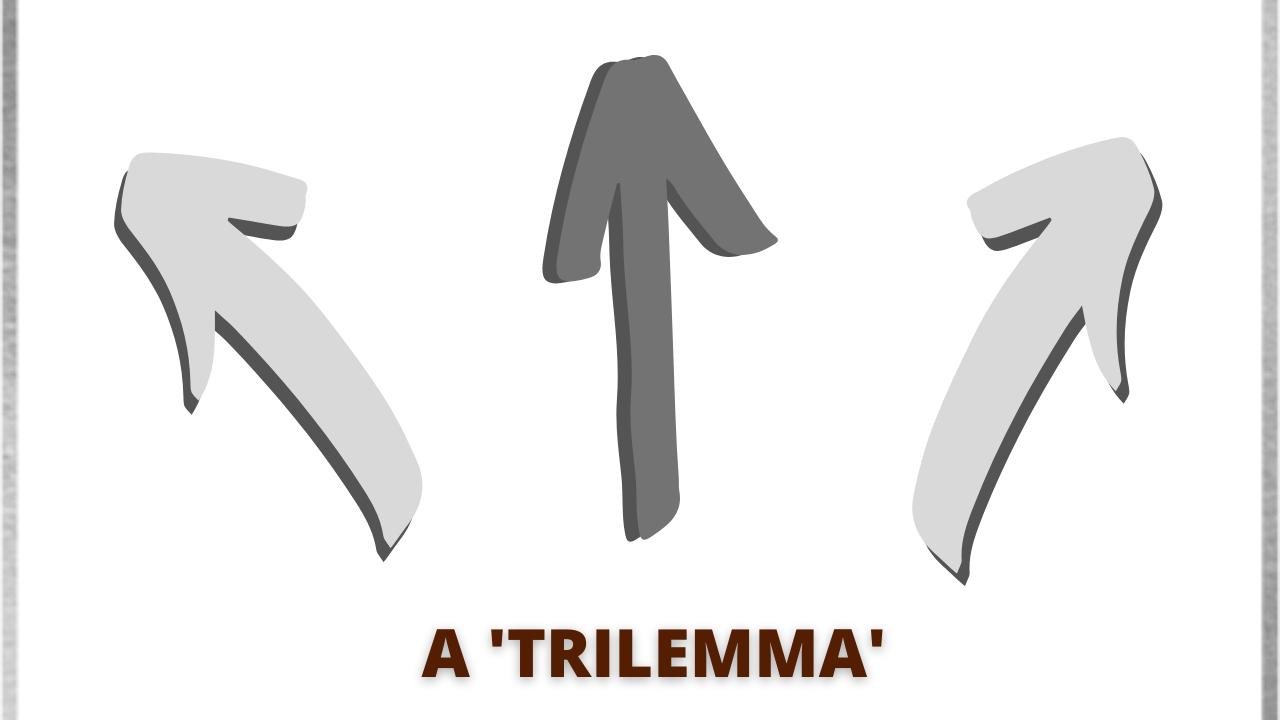 Three way arrow illustrating a 'trilemma'